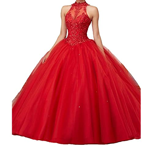 3c8b335e786 Jurong Women s Appliques High Neck Beads Long Pageant Quinceanera Dresses