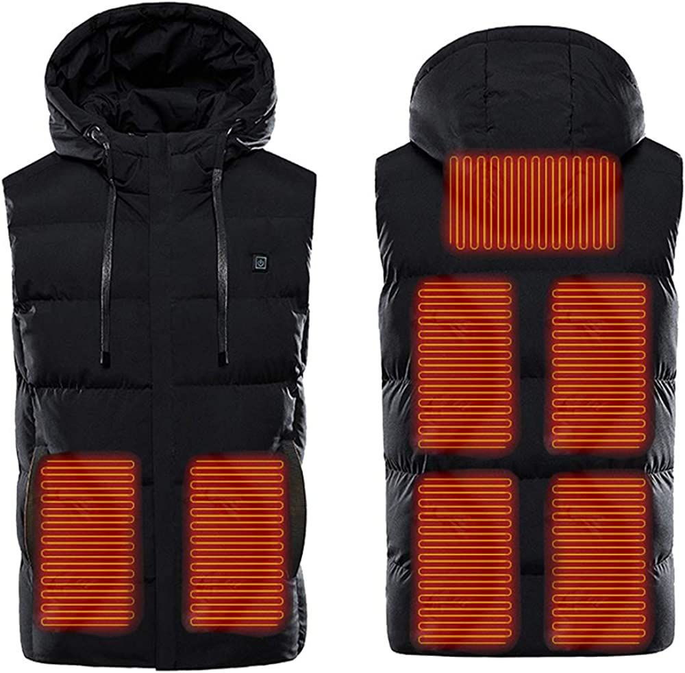 Cocobla USB Charging Heated Veset for Men Electric Hoodie Gilet Warm Waistcoat Jacket [Battery Not Included]