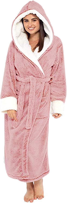 Womens Plush Fleece Robe with Warm 送料無料激安祭 Shaggy Long Hood Bathrobe 5☆大好評