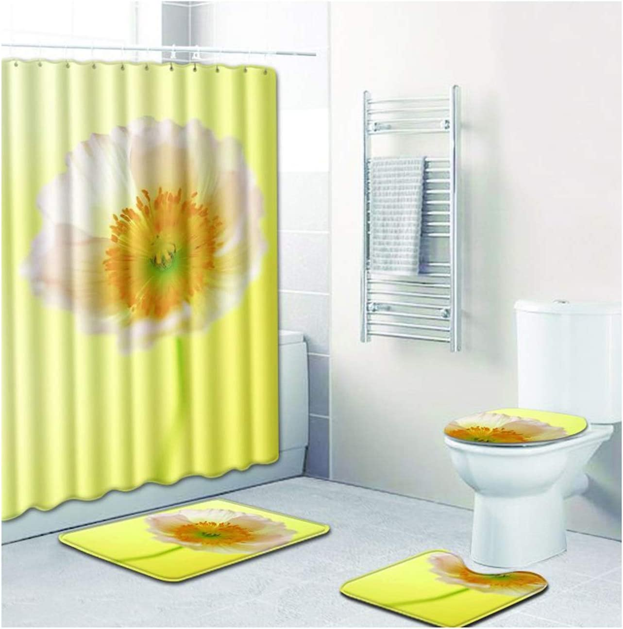 Gnzoe 4 PCS Bathroom Rare Shower Curtain with Print Flower Rugs Spasm price Sets