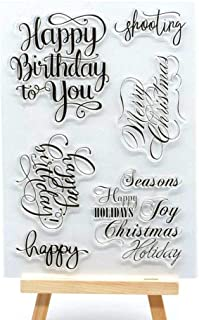 MaGuo Words and Phrase Clear Stamps Happy Birthday to You Merry Christmas Season Holiday for DIY Paper Craft Card Making Decoration or Scrapbooking