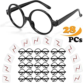 ceeco Wizard Glasses with Round Frame No Lenses and Lightning Bolt Tattoos for Kids Costume, Halloween, St Patrick's Day Costume Party, 16 Pack of Each, Black