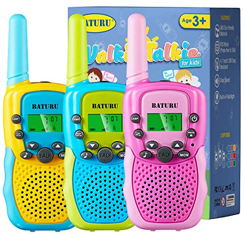 Kids Walkie Talkies 3 Pack for 5-10 Year Old Boys Girls, Walkie Talkies for Kids 22 Channel 2 Way Radio