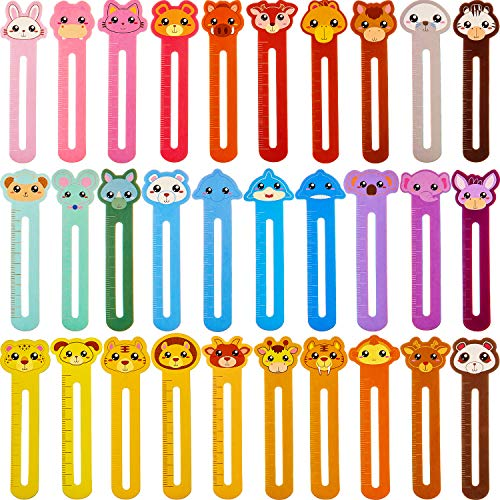 90 Pieces Cute Animals Bookmarks Funny Page Markers with Scales for Kids Teen Boys Girls Readers