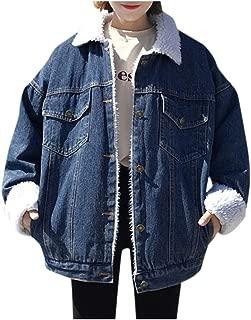 Women's Oversized Thick Warm Sherpa Fur Lined Denim Trucker Jacket Boyfriend Jean Coat Lapel Button Jacket Coat