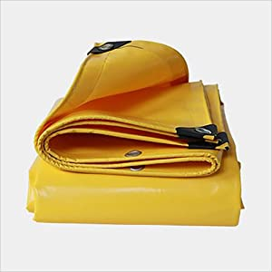 FJFSC Yellow Sunshade Tarpaulin Outdoor Goods Cover Cloth Double-sided Waterproof  Color Yellow  Size 4m