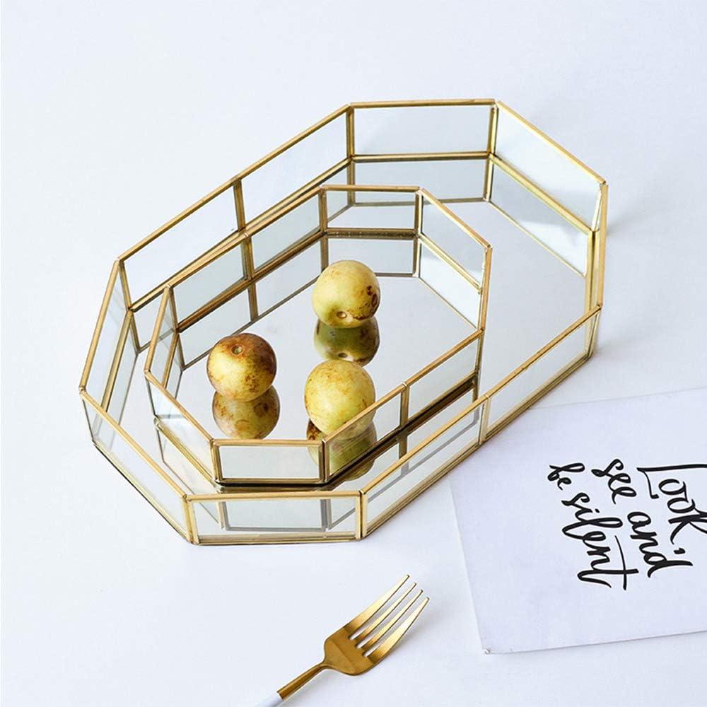 Hggzeg Plateau d/écoratif en verre dor/é avec miroir en polygone en m/étal pour bijoux maquillage Taille L salle de bain Verre Laiton coiffeuse parfum chambre /à coucher