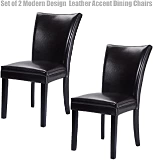 Modern Design Dining Chairs Durable Half-PU Leather Sturdy Wooden Frame Comfortable High Density Padded Cushion Home Office Furniture - Set of 2 Dark Brown #1263