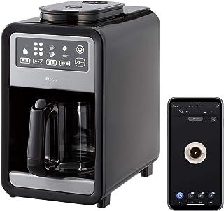 【+Style ORIGINAL】スマート全自動コーヒーメーカー アイスコーヒー対応 タイマー付き ミル6段階 豆・粉両対応 蒸らし 遠隔操作 Amazon Alexa Google Home 対応 コンパクト ガラスサーバー