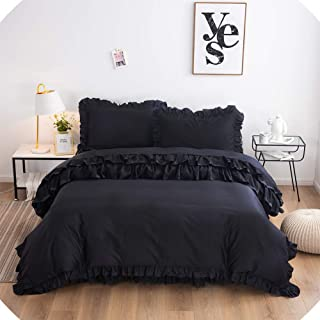 FADFAY Black Bedding Set 4 Piece Premium 100% Cotton Ruffled Lace Duvet Cover with Elegant Bed Skirt 4 Pcs: 1 Zipper Duvet...