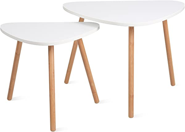HOMFA Nesting Coffee End Tables Modern Furniture Decor Side Table For Living Room Balcony Home And Office White Set Of 2