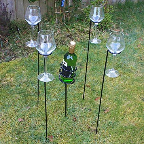 Woodside - Weinflaschenhalter & Weinglashalter für den Garten - Zum Grillen/für Picknicks