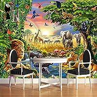 壁画壁紙壁3D漫画動物ライオン風景壁紙ロール紙子供部屋リビングルーム壁画壁カバー3D-500cm(W)x300cm(H)