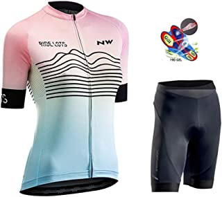 Cycling Jersey Women Short Sleeve + 19D Gel Padded Shorts MTB Sportswear Summer Breathable Quick-Dry for Outdoor Sport,C,4XL