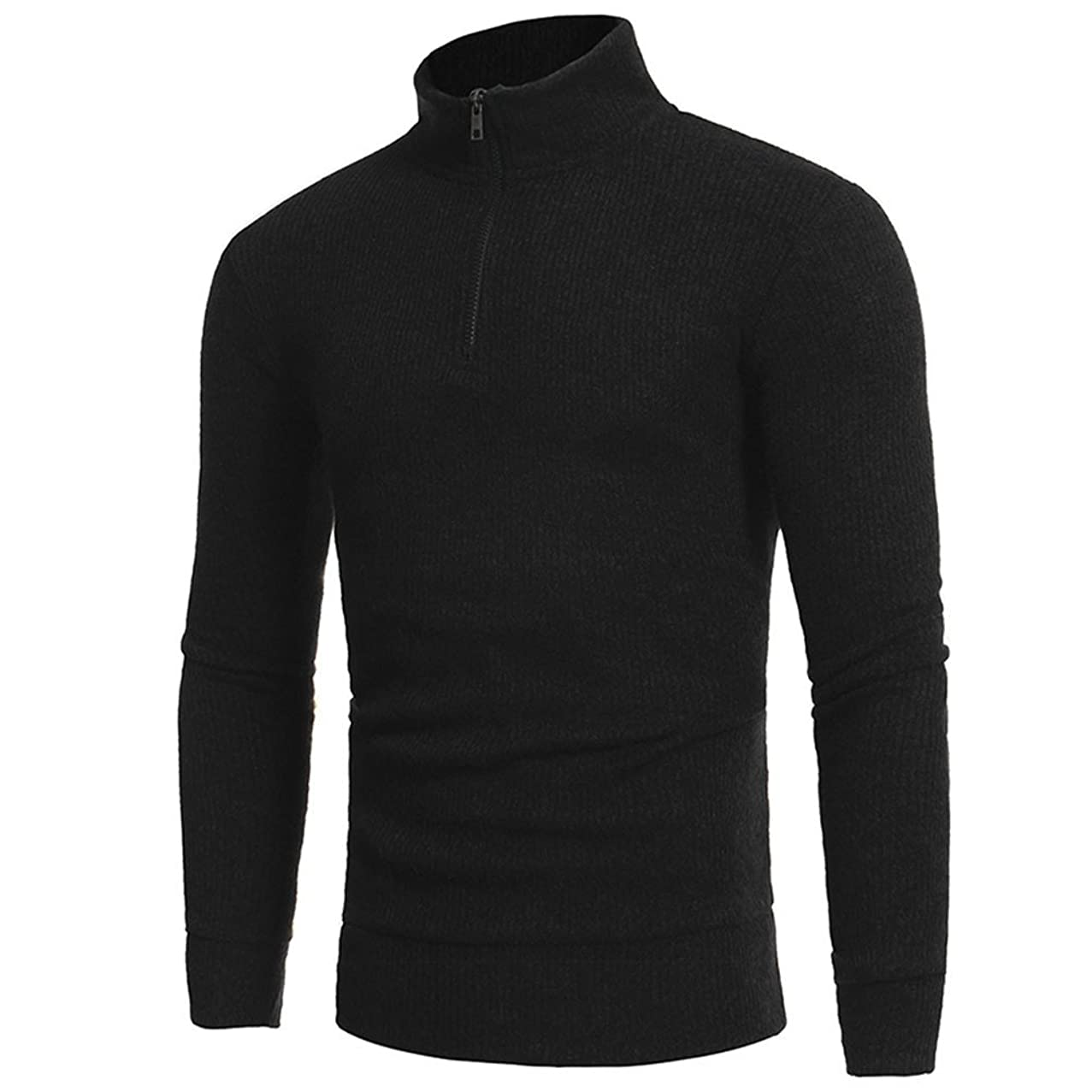 Simple Men Pullover, Man's Fashion Zipper High-Collar Casual Tee,Solid Long Sleeve Sweaters Bottoming Tops