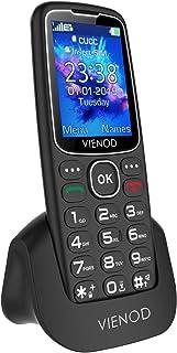 VIENOD V206 2G Teléfono Móvil para Mayores, Pantalla de 2,4 Pulgadas, Fácil de Usar Móviles con Teclas Grandes, Botón SOS, Cámara y Base Cargadora (Negro)