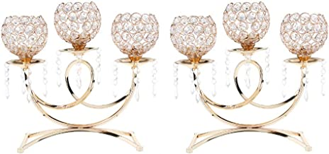 Fenteer 2X Bling Crystal Candlestick Stand W/Pendant for Home Tabletop Decor Golden