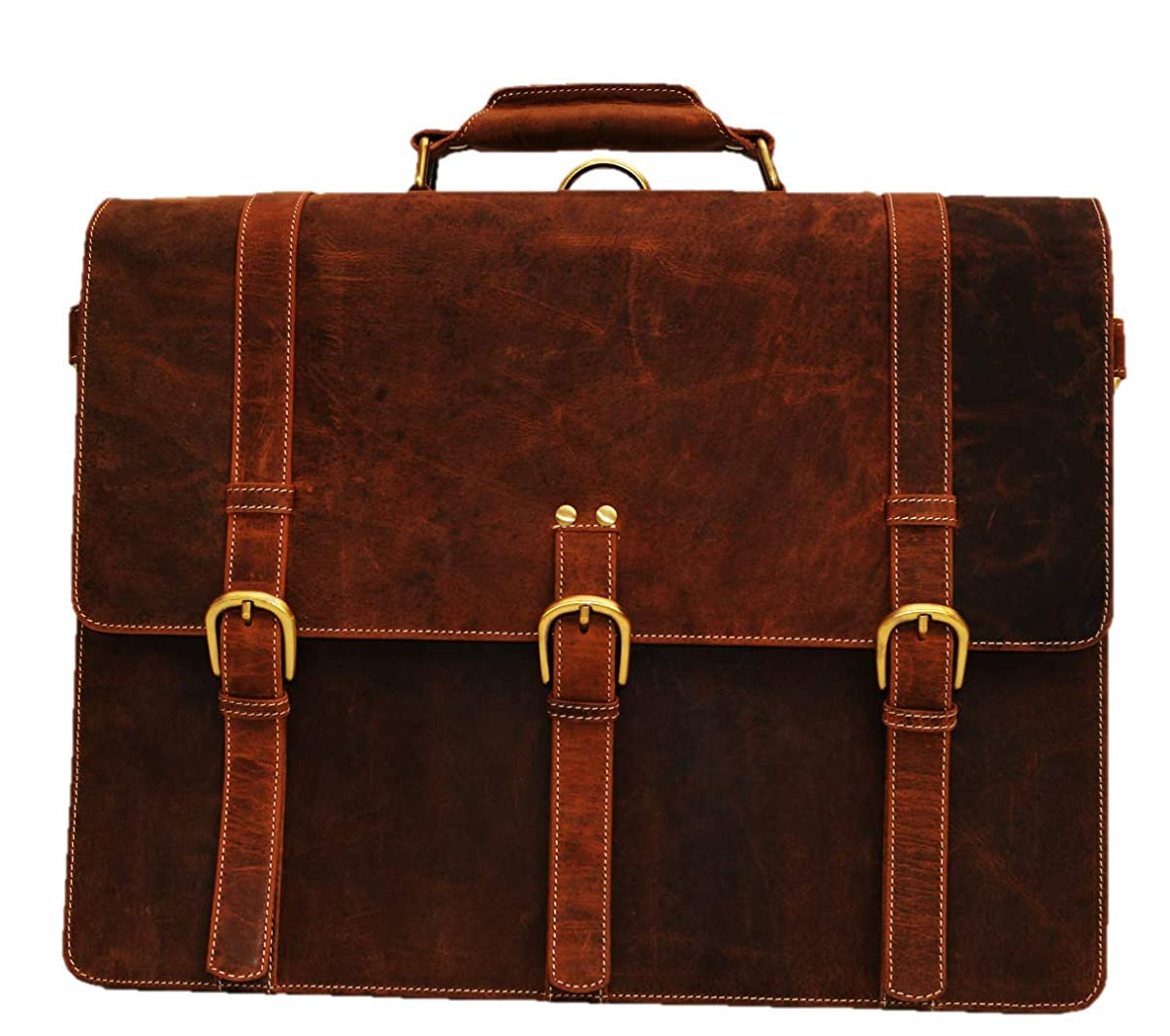 Mens Messenger Bag 17 Inch Vintage Genuine Leather Briefcase Large Satchel Shoulder Bag Rugged Leather Computer Laptop Bag, Brown