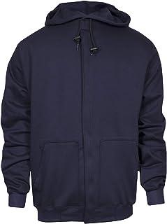 National Safety Apparel C21WT052X UltraSoft Fleece Hooded Sweatshirt with Plastic Zipper, 88% Cotton, 12% Nylon FR, XX-Large, Navy