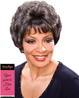 Elizabeth Wig Color 1B - Foxy Silver Wigs Short Hand-Stitched Full Volume Wispy Bangs African American Lightweight Average Cap Bundle w/MaxWigs Hairloss Booklet