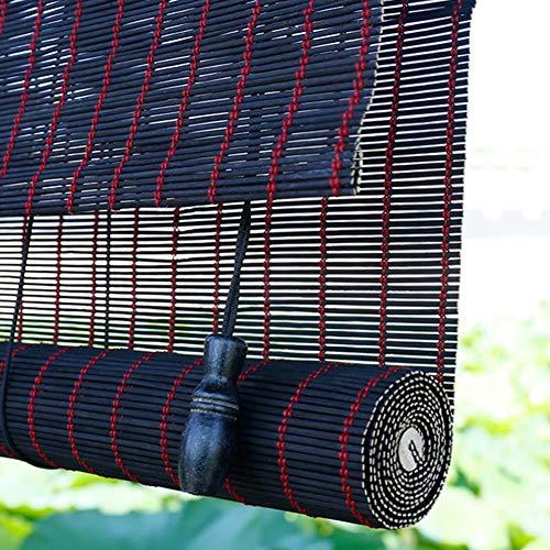 Bambusvorhang Schwarz Lichtfilterung Bambusvorhang mit Armaturen, Hölzern Rollläden Aufrollen Privacy Drape, Mehrere Größen Verfügbar, Support-Anpassung Jalousie ( Color : W×H , Size : 135×160cm )