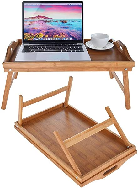 US Fast Shipment Quaanti Bed Tray Table With Folding Legs Serving Breakfast In Bed Or Use As A TV Table Laptop Computer Tray Snack Tray Seat Portable Bed Tray Folding Tea Table Yellow
