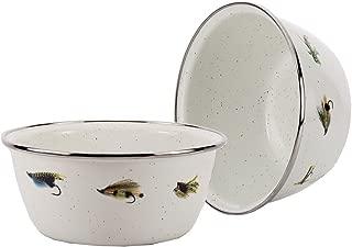 Enamelware - Fishing Fly Pattern - 3 Cup Salad Bowl