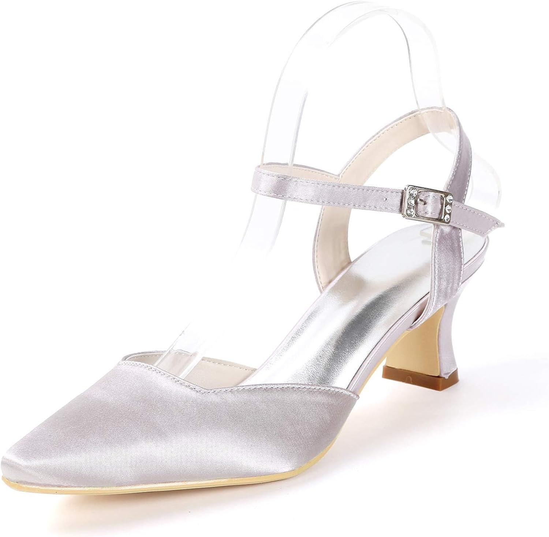 LLBubble Kitten Heels Satin Bridal Pumps Pointed Toe Women Party Dress shoes 0723-016