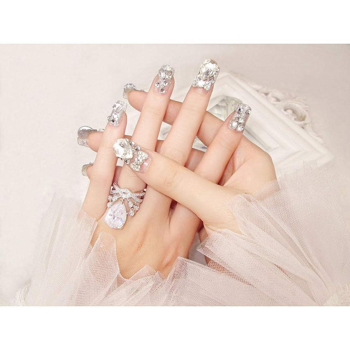 症候群謙虚警察署BOBIDYEE 完成した偽の釘24ピース箱入り花嫁シャイニー偽の爪の宝石ダイヤモンドの宝石ブライダルネイルステッカー (色 : 24 pieces)
