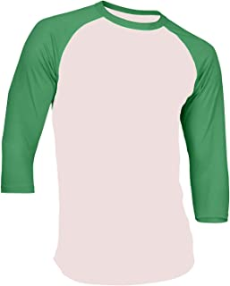 Men's Plain Raglan Shirt 3/4 Sleeve Athletic Baseball Jersey S-3XL (40+ Colors)