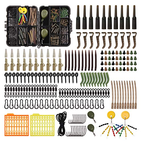 Carp Fishing Tackle Kit, Carp Fishing Equipment 217pcs Carp Fishing Bait Fishing Gear Carp Fishing Hooks Carp Fishing Box