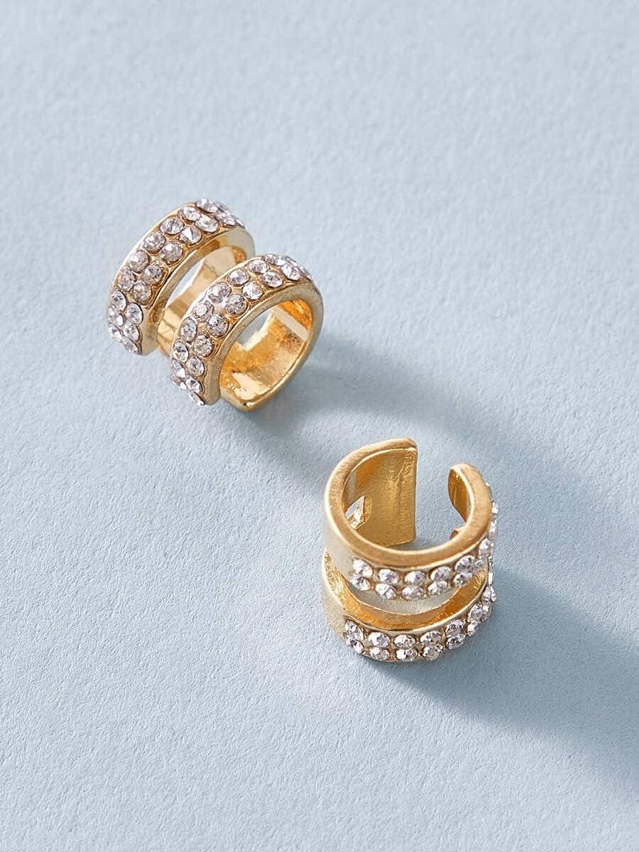 frenma Hoop Earrings 1pair Rhinestone Decor Ear Cuff (Color : Gold)