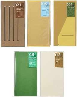 Midori Traveler's Notebook Refill Set / Regular (A-set) 021 Band , 008 Zipper Pocket , 006 Large Sticker , 013 Lightweight Blank Note Book , 019 Diary