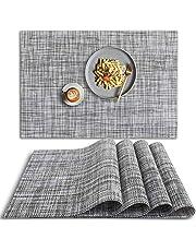 HomEdge Mantel individual de PVC, 4 piezas de manteles individuales antideslizantes resistentes al calor, lavables de vinilo, juego de 4 unidades, color gris
