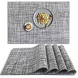 homEdge, Set di 4 tovagliette in PVC, antiscivolo, resistenti al calore, lavabili, in vinile, colore grigio