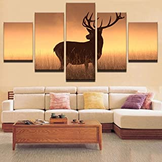 TYUIOP Canvas mural-HD print pictures for living room home decoration 5 animal deer canvas painting sunset landscape poste...