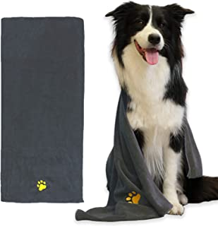 Dog Towel Pet Towel Super Absorbent Paw Pattern Soft Quick-Drying Suitable for Dog Bathing Grooming Travel Beach Large Siz...
