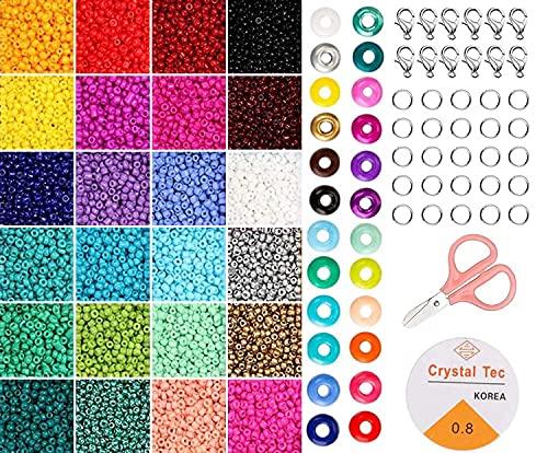 Tenwind 2mm Cuentas de Colores,24000 Piezas Mini Cuentas de Vidrio para los niños,Con Cuerda de...
