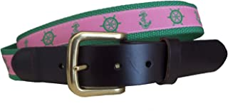 No27 Men's Helm and Anchor Leather Belt, Leather Tab and Buckle, Green Wheel and Anchor Ribbon Novelty Leather Belt