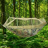 Duokon Lettino da Campeggio Portatile Amaca Viaggio con Zanzariera per L'Escursione in all'Aria Aperta(Verde Militare)