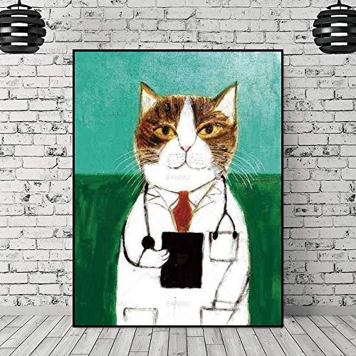 SQSHBBC leinwand malerei Bild Cartoon Katze wandkunst malerei Kunst leinwand Bild dekor Poster wandkunst abstrakte Kunst Druck Wandbild 50X70cmX1PC kein Rahmen
