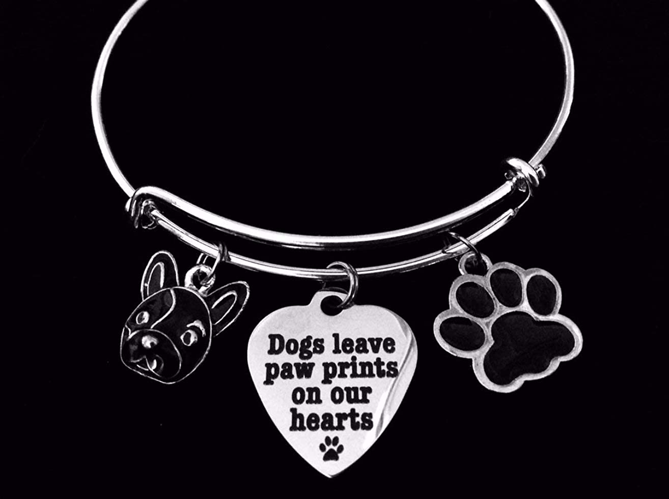 French Bulldog Jewelry Dogs Leave Paw Prints on our Heart Expandable Charm Bracelet Silver Adjustable Wire Bangle Animal Lover One Size Fits All Gift Personalization Customization Options