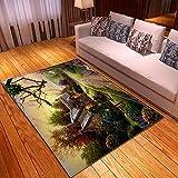 CQIIKJ Alfombra Estampada Amarillo Gris Verde púrpura Puesta de Sol Selva Flor choza Alfombra Antideslizante Alfombra Lavable 80 x 160 cm para la Entrada de casa, baño o Dormitorio