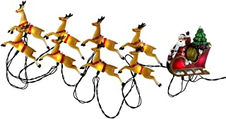 Kurt Adler 10-Light Santa Sleigh and Reindeer Light Set