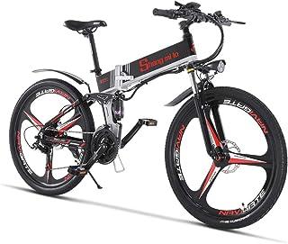 割引 M80 500W/350W 電動アシストマウンテンバイク シマノ21速 折り畳み 油圧ディスクブレーキ フルサスペンション 防犯登録可能 荷台付き