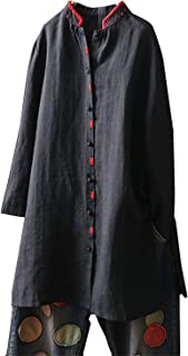 IXIMO Women's Linen Tunic Tops Long Sleeve Stand Collar Embroidery Button Down Shirts Blouses