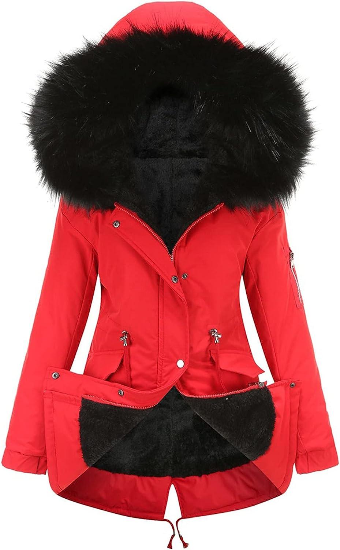 Faux Fur Lined Parka Jacket Women Fleece Hooded Zipper Button Down Thick Winter Coats