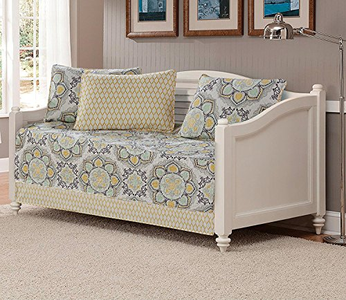 Mk Collection 5pc Day Bed Quilted Cover Set Floral Yellow White Gray Light Green New