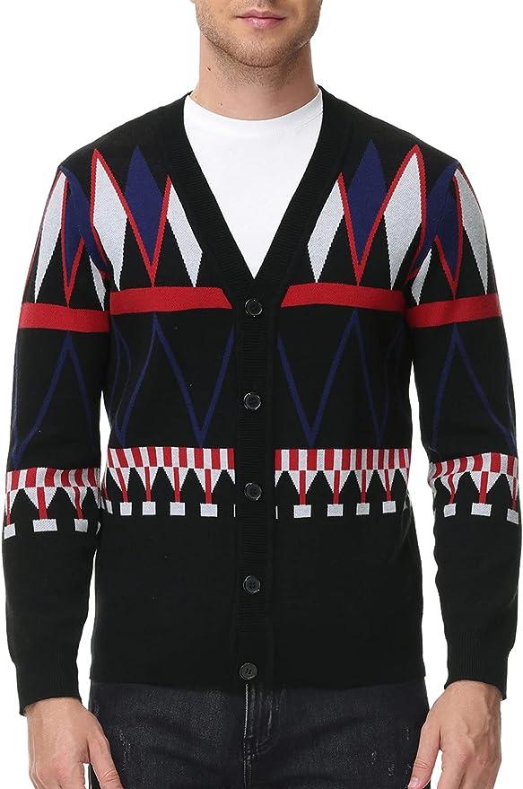 Men's Vintage Sweaters, Retro Jumpers 1920s to 1980s PJ PAUL JONES Mens Aztec Print V-Neck Cardigan Sweater Geometric Button up Sweater  AT vintagedancer.com