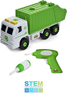 Take Apart Recycling Truck with Sounds, Power Drill, Build Your Own Garbage Truck with 30 Piece Set, Educational STEM Toys for Toddlers, Engineering Building Kit Ages 3 to 6